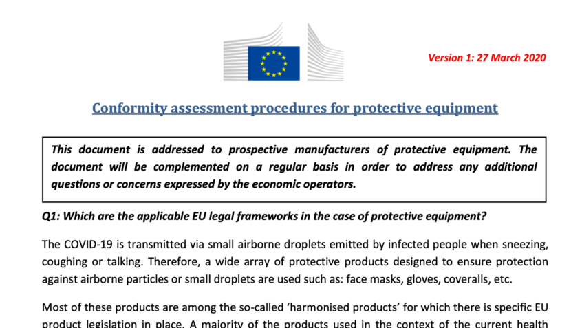 Corona-crisis: European Commission publishes guides for manufacturers of essential medical devices and PPE